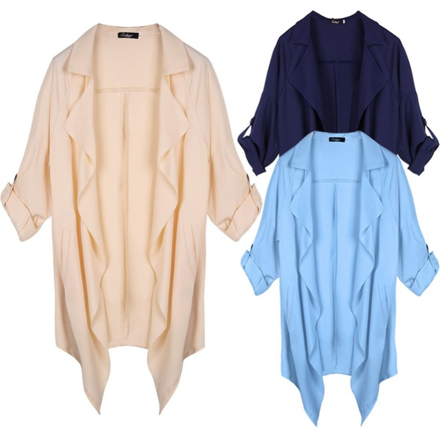 2016 Spring Summer Women Roll up Batwing Cardigan Trench Chiffon Waterfall Causal Lapel Work Blouse Outerwear Plus Size W016