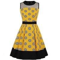 Yellow Summer Women Retro Dress Rundhals Sleeveless 60 S Vintage Dress Lace High Waist Party Vestidos Rockabilly Tunika Dresses