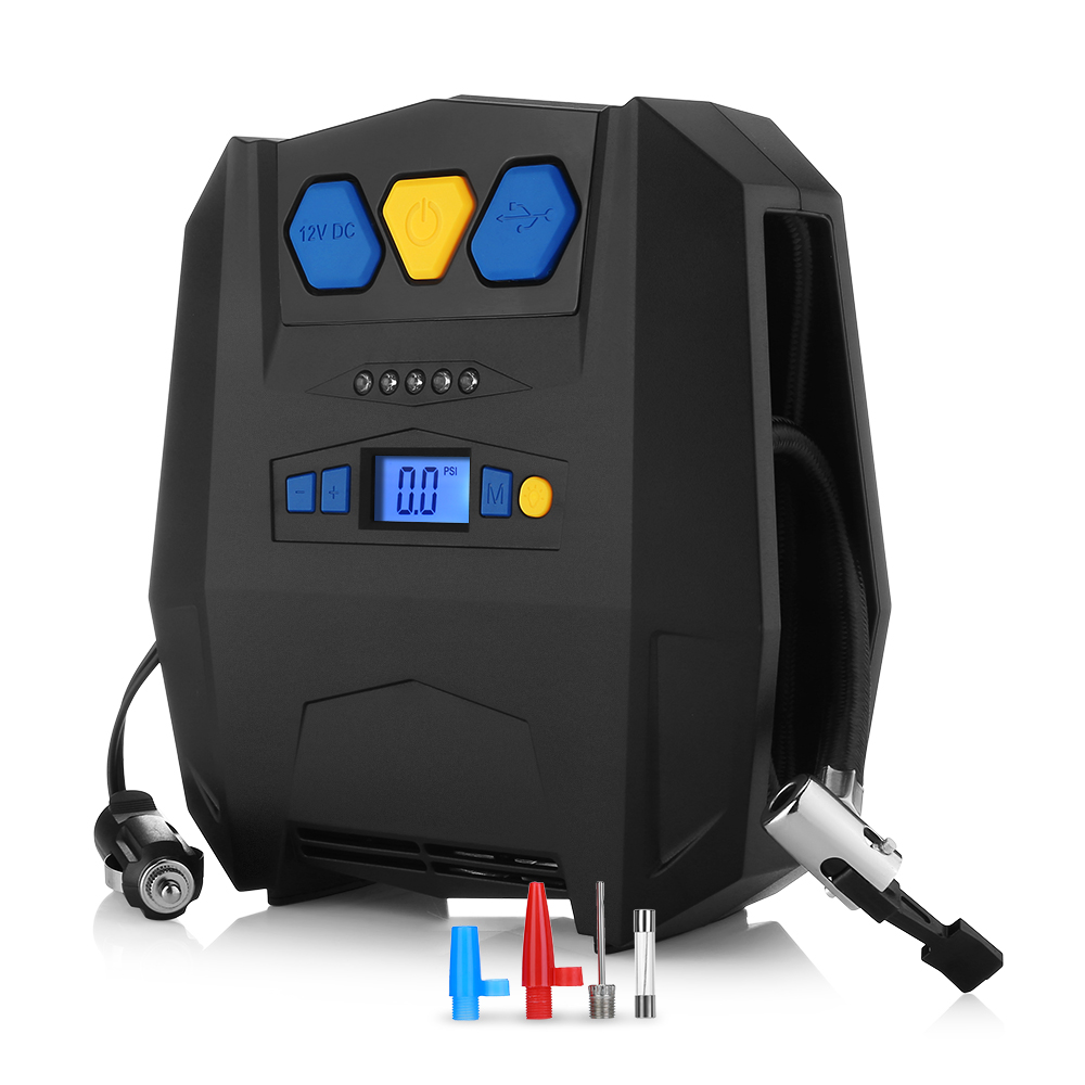 Portable Digital Tire Inflator DC12V LED Pump 150PSI Auto Air Compressor For Inflatable Boat Bicycle USB Inflation Pumps 4 Units