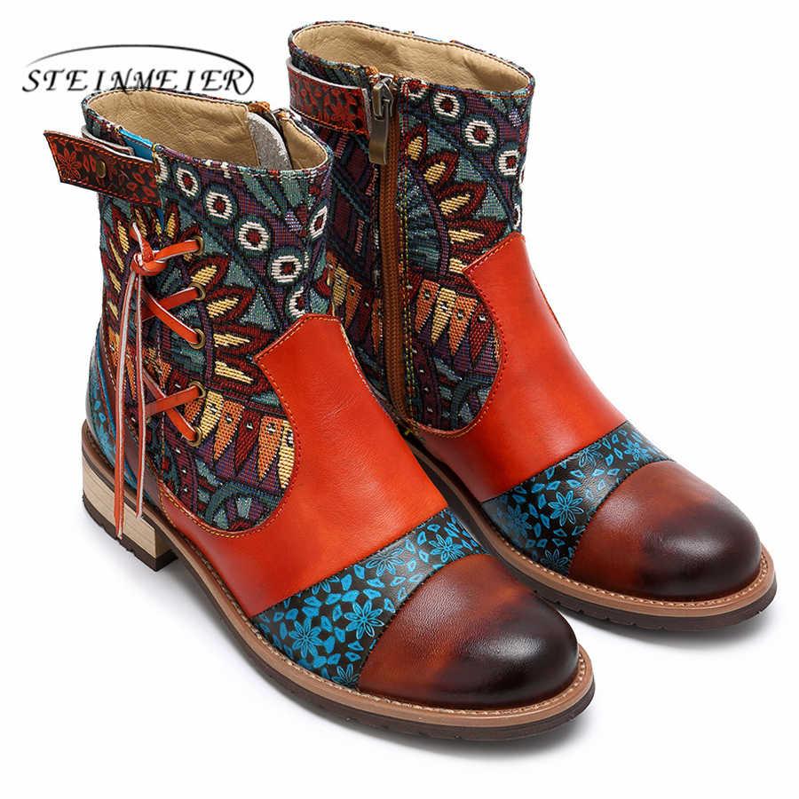 Vrouwen winter Laarzen Echte koe Lederen Enkellaarsjes Retro Comfortabele kwaliteit zachte Schoenen handgemaakte stiksels vrouwen laarzen rood 2019