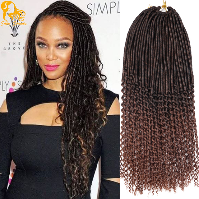 20inch Goddess Burgundy Faux Locs Crochet Hair 24root Curly Faux