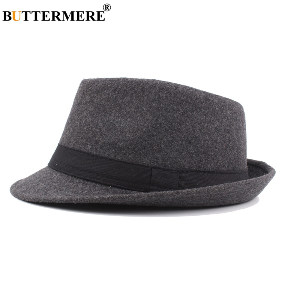 949d74eb BUTTERMERE Woolen Fedora Hat For Men Burgundy Vintage Felt Floppy Hat Womens  Winter Spring Casual Fashionable Classic Jazz Hats-in Fedoras from Apparel  ...