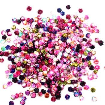 100pcs Mixed Resin Flower Decoration Crafts Flatback Cabochon Embellishments For Scrapbooking Accessories Fit Nail Art Sticker недорого