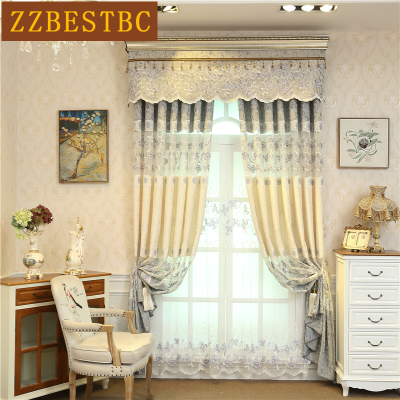european style luxury embroidered curtains 2 colors can choose for living room high quality. Black Bedroom Furniture Sets. Home Design Ideas