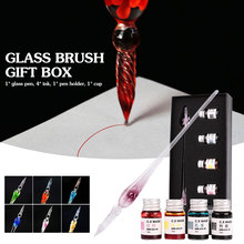 Glass Dip Pen Crystal Signature Pen Creative Embedded Flowers High Borosilicate Glass Fountain Pen Drawing Writing Tools fashion creative glass dip pen signature glass pen business presents office supplie white