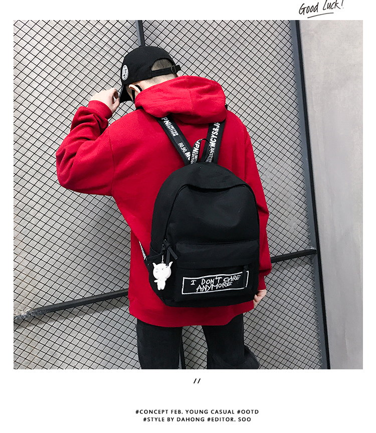HTB1Pyh8aRGE3KVjSZFhq6AkaFXaD 2019 New Backpack Fashion Canvas Women Backpack Doll Pendant Travel Women Shoulder Bag Harajuku Backpack Female Mochila Bagpack
