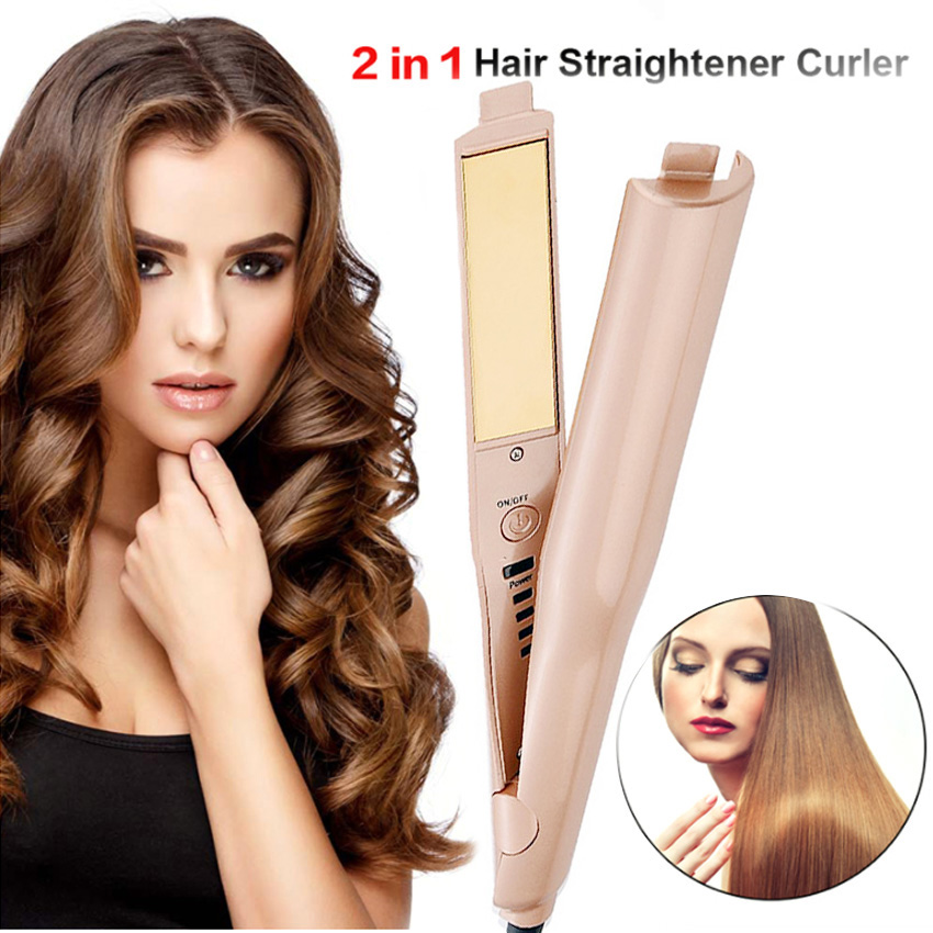 Professional 2 in 1 Twist Hair Curling & Straightening Iron Hair Straightener Hair Curler Wet & Dry Flat Iron Hair Styler