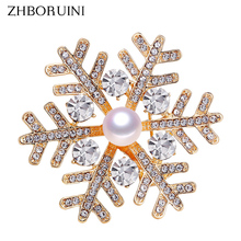 ZHBORUINI 2019 New High Quality Real Natural Freshwater Pearl Brooch Snowflake Gold Pins Corsage Jewelry For Women