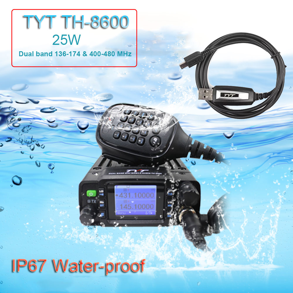 TYT Mini Radio TH-8600 IP67 Waterproof Dual Band 136-174MHz/400-480MHz 25W Amateur Car Radio TH8600 Woki Toki+ USB Cable