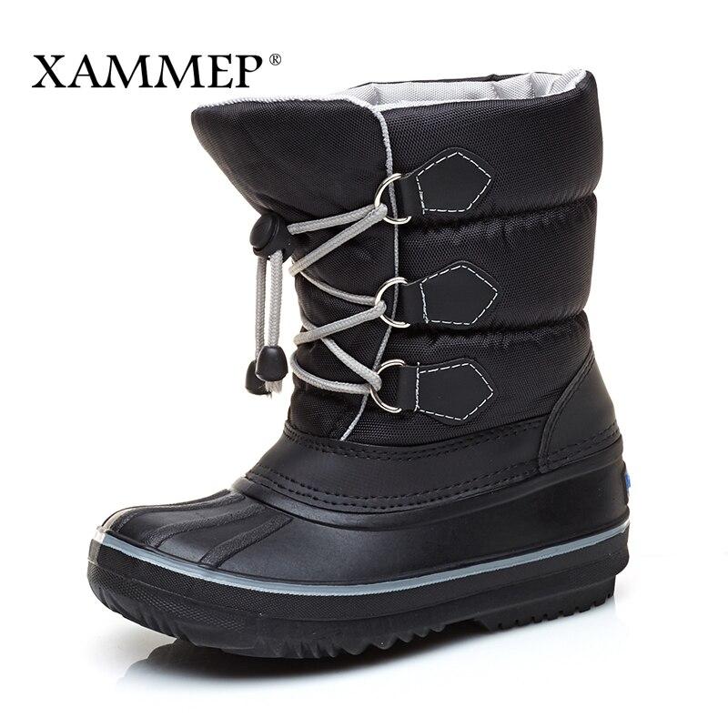 Children's Winter Boots Kids Shoes Girls Boys Brand Winter Shoes Warm Plush Mid Calf Boots Snow Boots High Quality Xammep