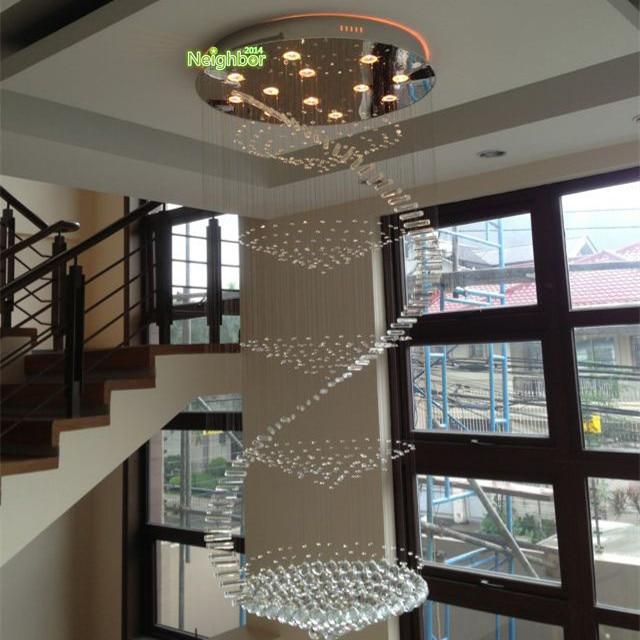 luces de techo cristalina moderna sala de estar doble escalera de caracol lmpara de suspensin de