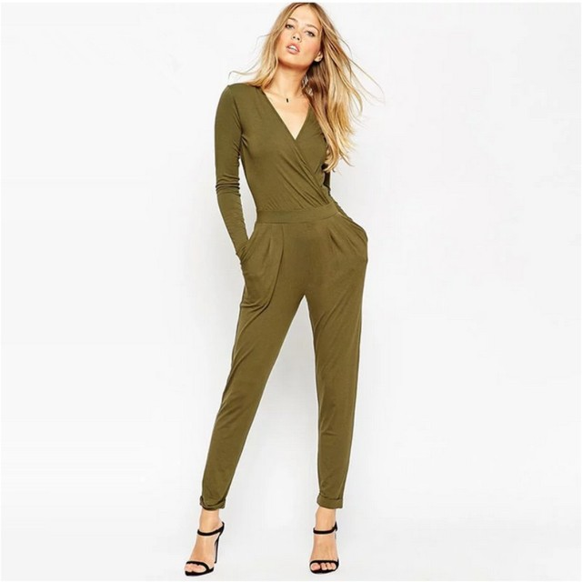 European Fashion Sexy Rompers Backless Rompers Womens Jumpsuits 2017 Spring Tight Long Pants Sexy V-Neck Bandage