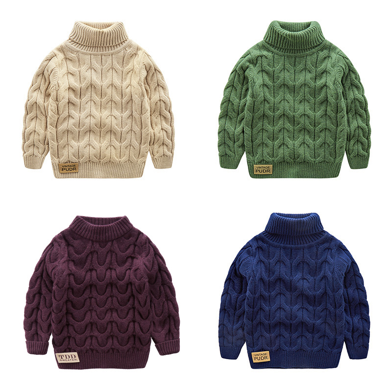 49343fe8d4d1 Baby Boy Turtleneck Sweaters Kids Thicken Knitted Sweater for boy ...