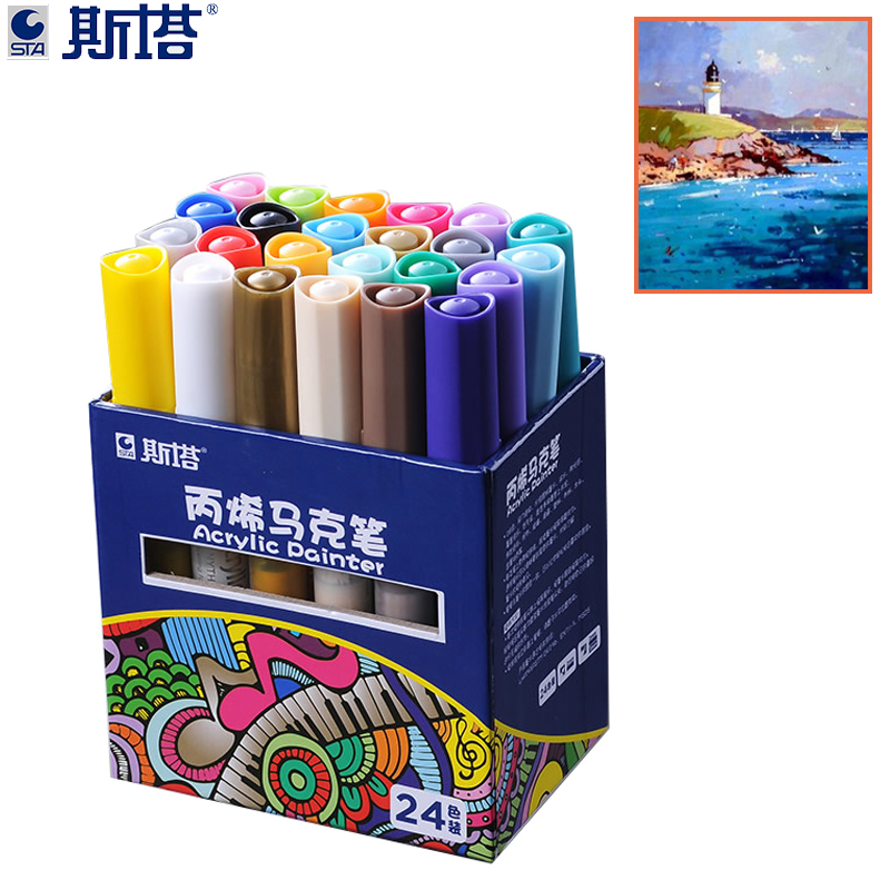 STA 12/24Color Creative Acrylic Marker Pen, Highlighter Waterproof Hand DIY Paint Marker Pen For For Art Design School Supplier фотоальбом pioneer disney valentine 20 магнитных листов 29 х 32 см lm sa20bb c