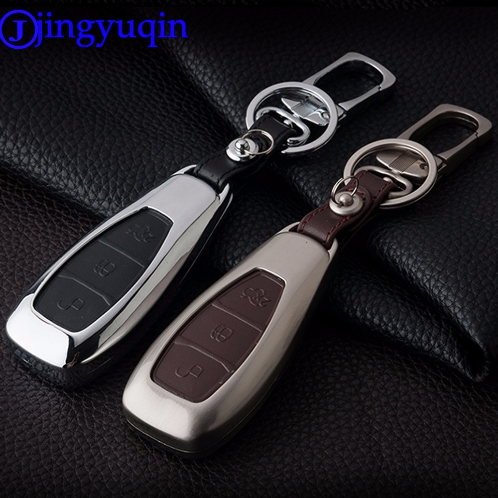jingyuqin Remote 3 Buttons Zinc Alloy+Leather Car Key Cover Case For Ford Fiesta Focus Mondeo Ecosport Kuga st key chain