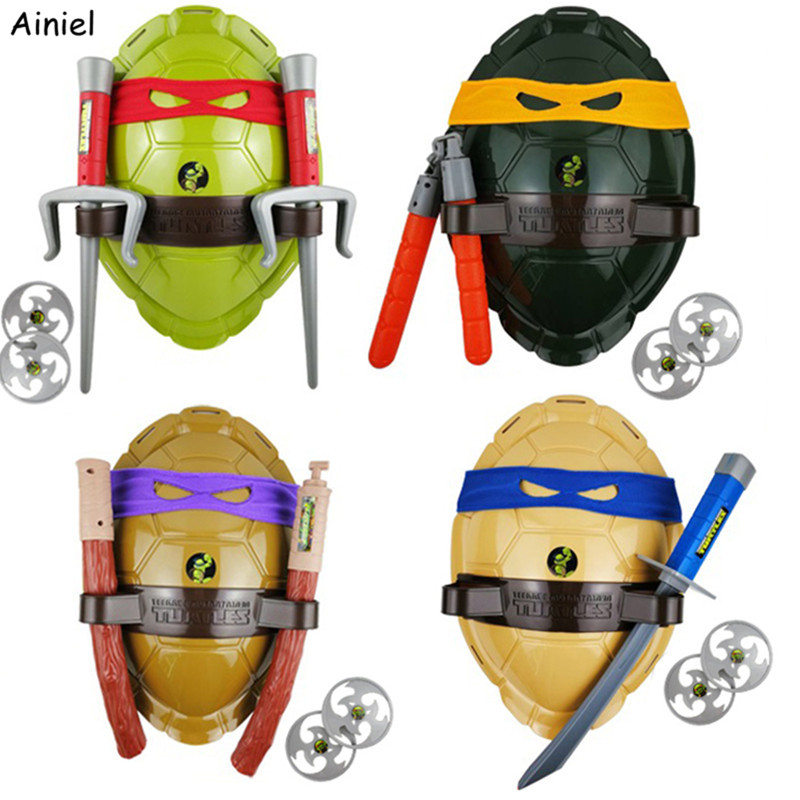 Anime Teenage Mutant Ninja Turtles Weapons Suit Cosplay Boys Leonardo Toy Shell Prop Weapon Set For Kids Cosplay Christmas Gifts(China)