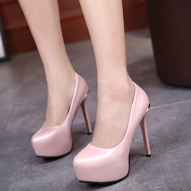 2017 Sexy High Heels Women Pumps Platform Thin Heels Single Shoes PU Leather Women Shoes