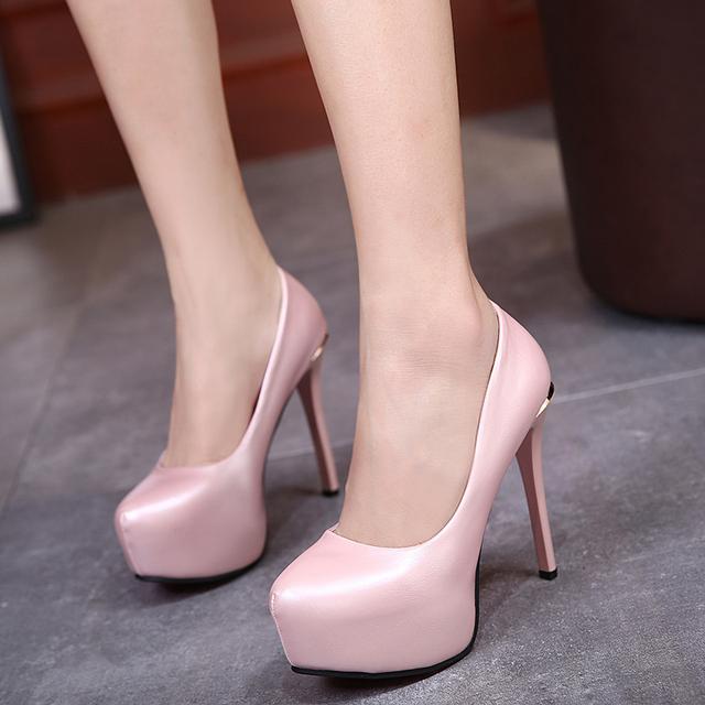 2017 Sexy de Salto Alto Mulheres Bombas da Plataforma Dos Saltos Finos Sapatos Único PU Sapatos de Couro Mulheres Sapatos