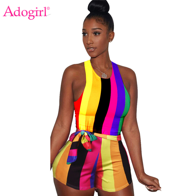 bb6810f952eb Adogirl Colorful Rainbow Striped Women Jumpsuit with Sashes Tank Rompers  Sleeveless Summer Playsuits Sexy Club Bodysuit Swimwear