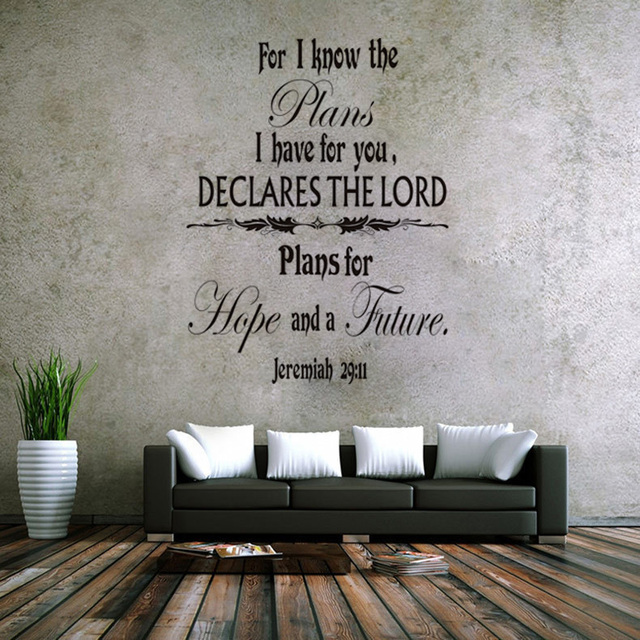 Jeremiah 29:11 Scripture Vinyl Quotes Wall Decal Home Decor Living Room  Bedroom Art Mural