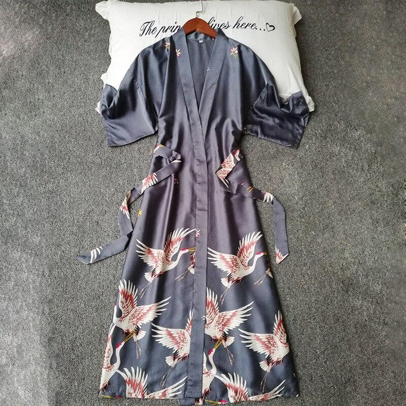 Image 3 - Summer Women Silk Short Sleeve Bridesmaid Robe Sexy Lingerie Sleepwear Nightgown Elegant Robes Satin Print Kimono Bathrobe-in Robes from Underwear & Sleepwears
