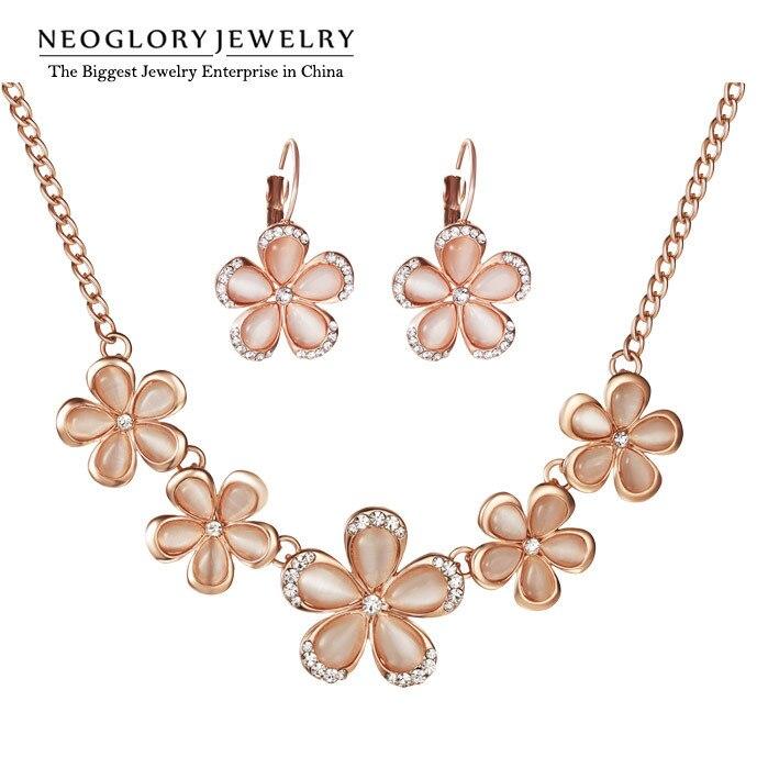 Neoglory Jewelry-Sets Flower Gifts Rhinestone Rose-Gold-Color Fashion Women Brand Opal