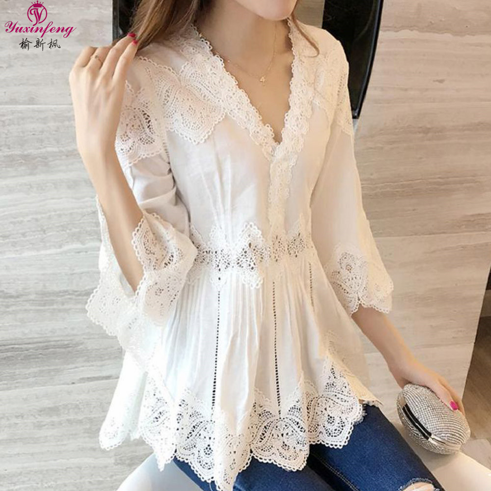 Yuxinfeng Summer Women's Lace tops and blouses Shirt Hollow Out Elegant V Neck Big Sizes White Shirts Lady blusas feminina