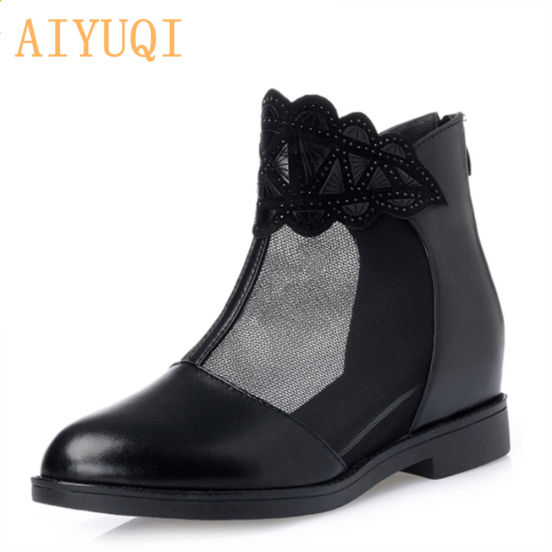 2019 genuine leather female summer shoes inner pad increase height net yarn rhinestone sandals wild casual net shoes female in Low Heels from Shoes