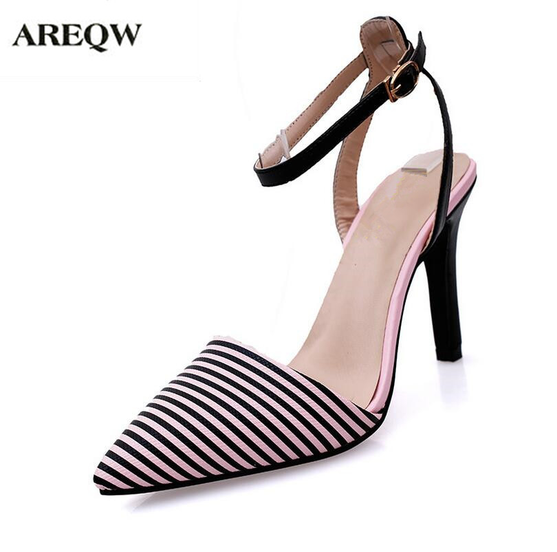 AREQW 2017 summer the star with a ferry thin-heel buckle striped high-heeled shoes sandals women sexy high-heeled shoes women star island summer