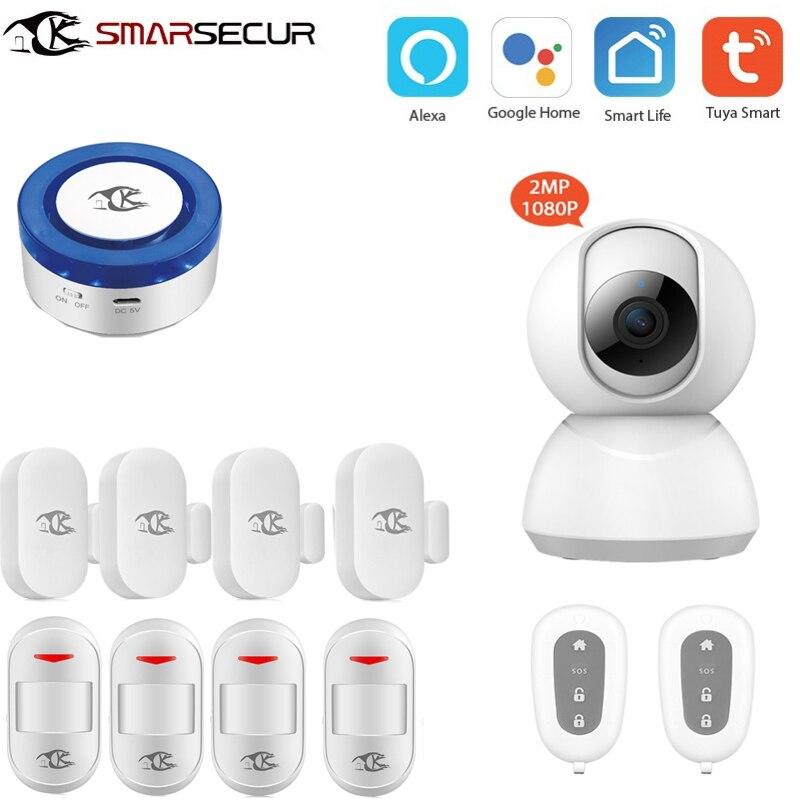 Sans fil sécurité à domicile Wifi alarme sirène Tuya vie intelligente app contrôle intelligence compatible Google accueil Alexa