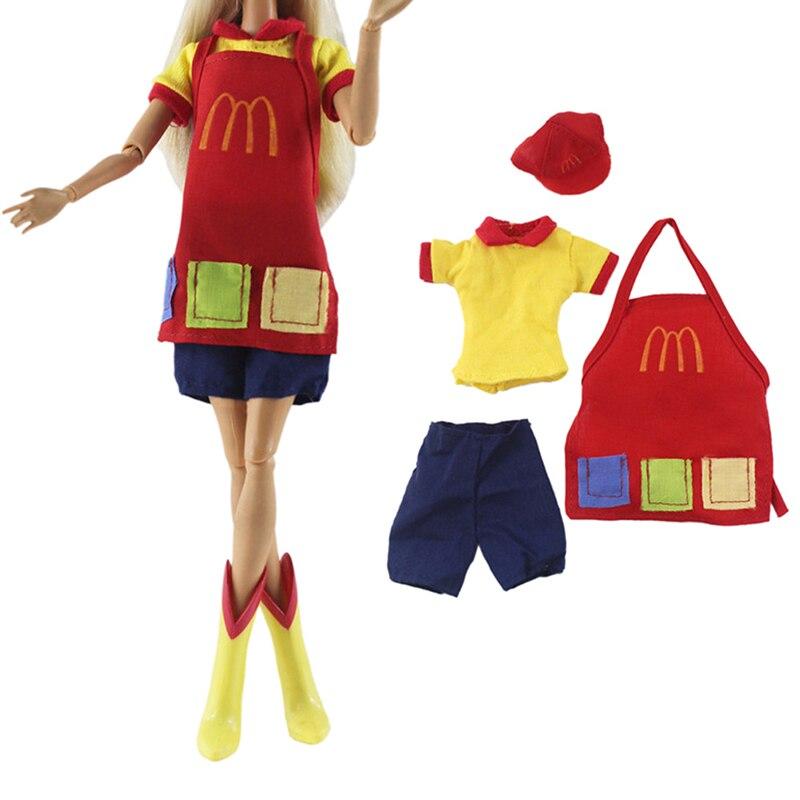 100% Waar Handgemaakte Ober Korte Mouwen + Broek En Schort Dagelijkse Outfit Wear Voor Meisje Baby Speelgoed Voor Meisje Poppenhuis Pop Accessoires Gift Aantrekkelijke Ontwerpen;