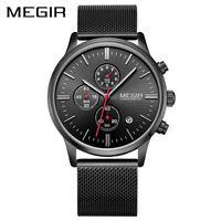 MEGIR Official 2017 Quartz Male Watches Stainless Steel Watches Racing Men Students Game Run Chronograph Watch