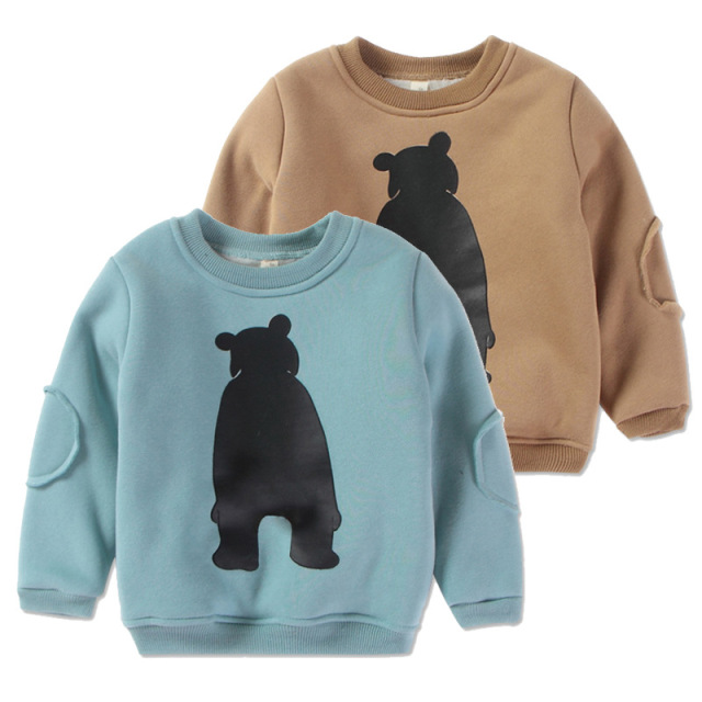 Children Clothes Winter Coat Boys Hoodies Plus Velvet O-neck Cartoon Shirts Girls Blouse Cotton Tops Teen Shirts Of Toddler Baby