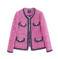 Rose red tweed jacket 2017 autumn women's jacket new long sleeved hit color ribbon metal buckle jacket