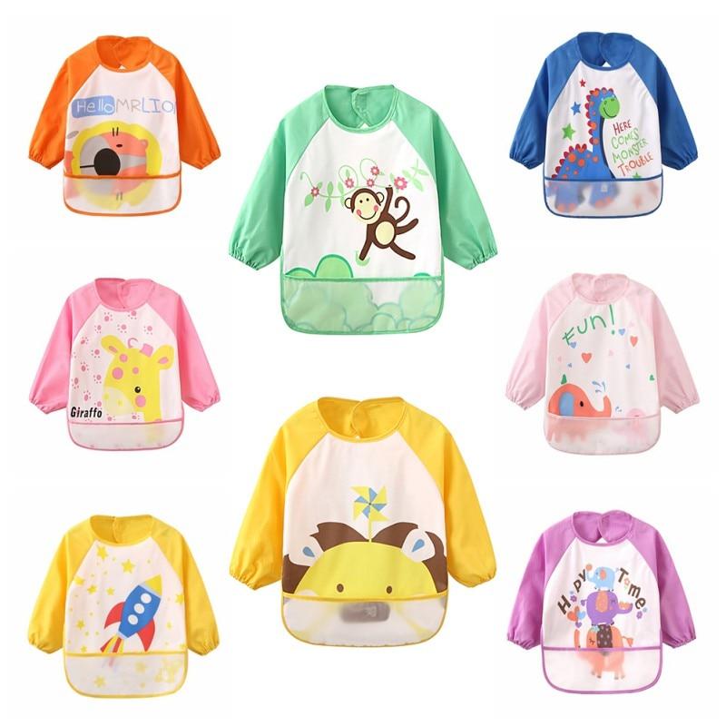 Baby bibs cotton cartoon printing waterproof anti-clothing childrens gowns bib baby eating pocket bib
