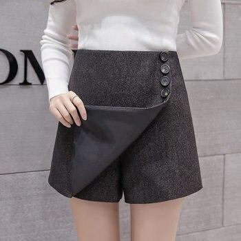 Fashion High Waist Shorts Women Casual Vintage Autumn Winter Wide Leg Woolen Shorts Thicken Button Large Size Women Shorts Q694 Шорты