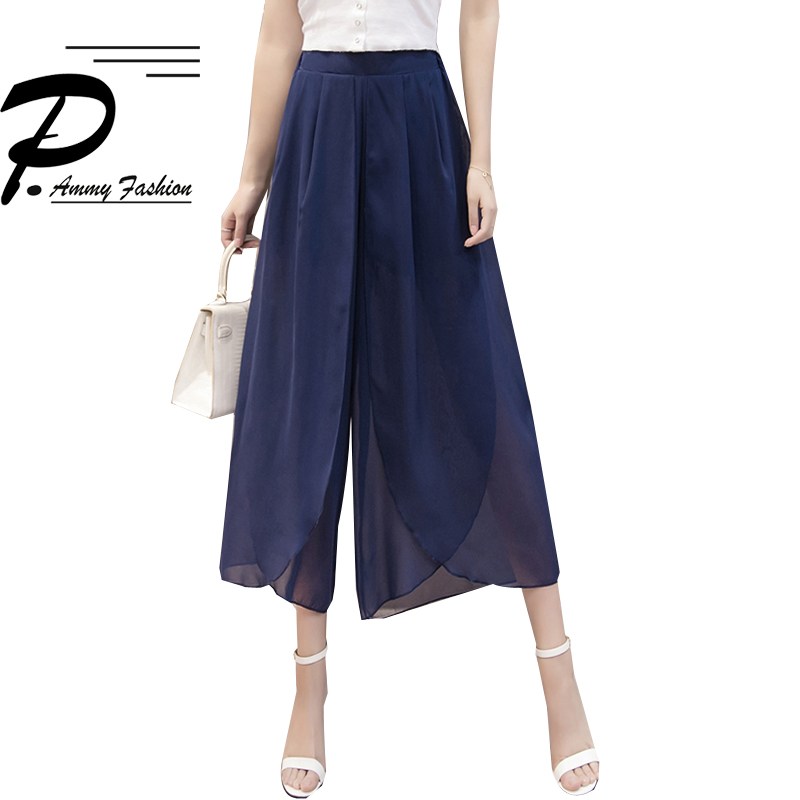 2019 new Summer loose   wide     leg     pants   Women Lady nine   pants   chiffon skirt high waist casual Chiffon Solid color   pants