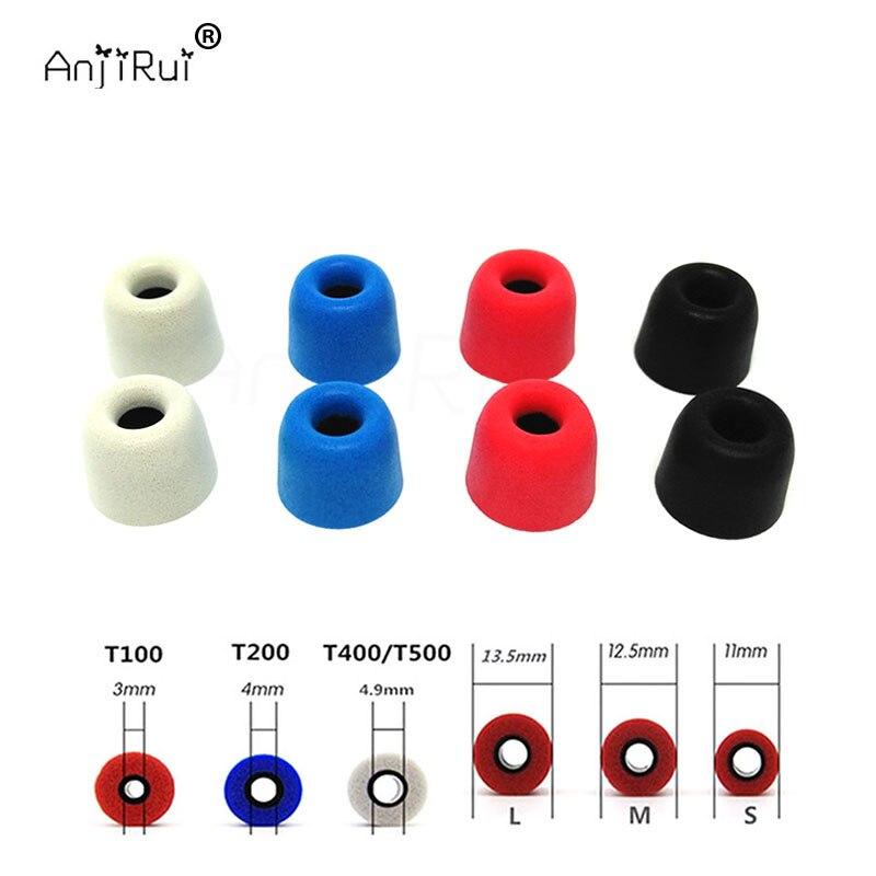 8 pcs/4 paire. ANJIRUI T200 4.0mm 12.5mm isolation mousse conseils pour in-ear écouteurs casque écouteurs basses renforcées Coussinets D'oreille