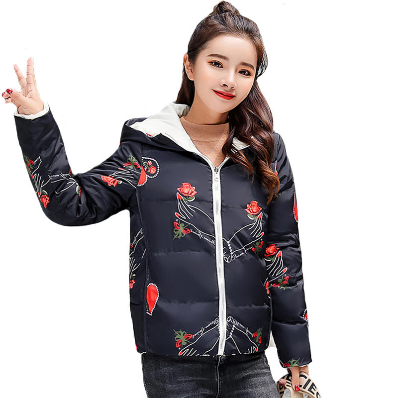 Both The Two Sides Can Be Wore 2019 New Arrival Women Winter Jacket Padded Hood Short Female Coat Outwear   Parka   Casaco Feminino