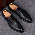 Men's business genuine dress suits crocodile leather shoe point England increased Korean 2017 sping wedding casual shoes US 9