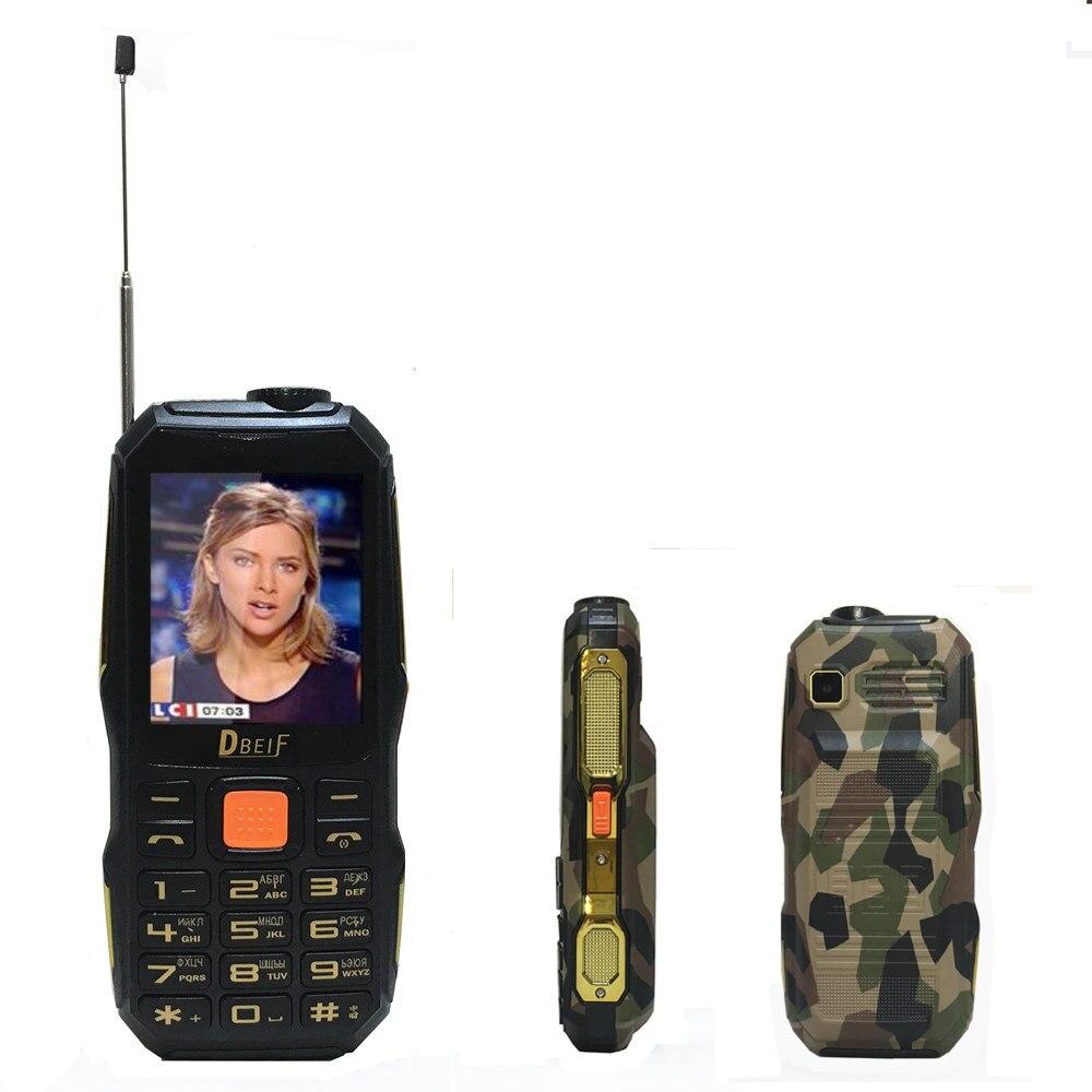 TV analogica mp3 mp4 telefoni banca di potere torcia elettrica Robusto telefono mobile poco costoso di GSM del telefono cellulare Originale DBEIF TVD1000