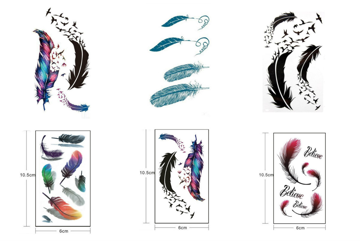 1 Cool Colorful Feather Tattoo Stickers Alphabet Moon Pattern Waterproof Temporary Fake Tattoo Body Art
