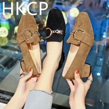 HKCP Fashion The Korean version for female students will go with the new chunky square-toe shoes spring 2019 C072