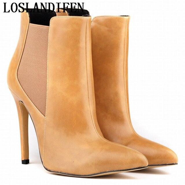 b23490bdda9d9 Moda Sapato de Bico Fino Fino Salto Alto Ankle Boots Botas Mujer Outono Martin  Botas Curtas