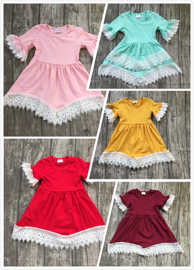 2018 new girl kids clothing cotton 5 colors dress lace ruffle Summer baby kids wear girls clothes maxi dress solid short sleeve frill trim ruffle sleeve surplice wrap dress