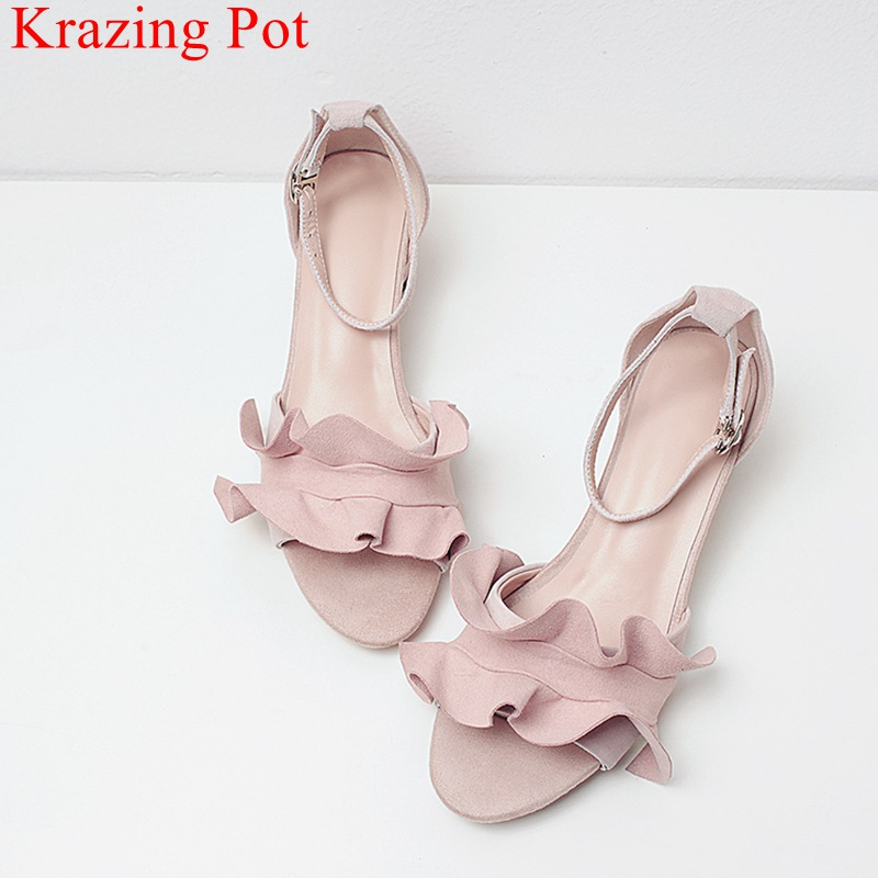 2018 fashion peep toe ruffles brand summer shoes genuine leather square heel women sandals sweet med heel office lady shoes L55 crystal chunky heel sandals women summer t word buckle sweet rhinestone heel ladies sandals peep toe med heel woman shoes