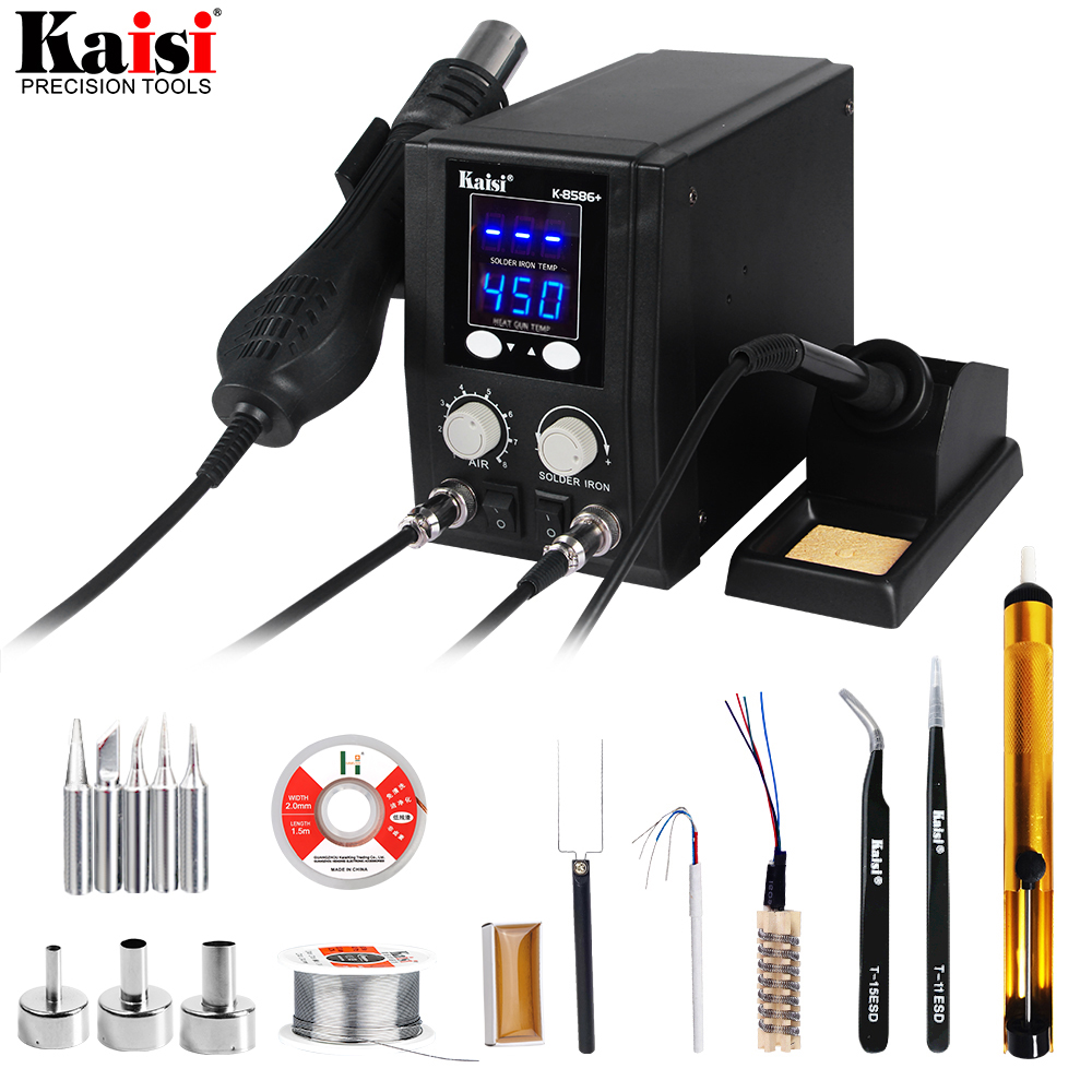 New 8586+ SMD Rework Soldering Station hot air soldering station hot air gun  Display Repair Welding Set PCB Desoldering Tool-in Soldering Stations from Tools