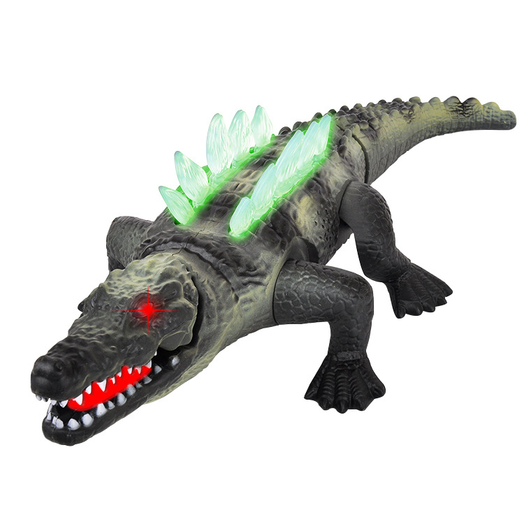 42CM Simulation Electric Crocodile Toy With Sound And Light Big Plastic Animal Model Kids Electronic Pets Boy Birthday Gifts