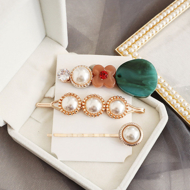 Korean Fashion Style Metal Pearl Hair Clips 3pcs/set