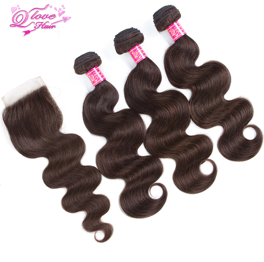 Queen Love Hair Pre-Coloed 3 Bundles With Lace Closure Malaysia Hair Body Waves #2 Color Non Remy Hair Extensions